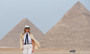 First Lady Melania Trump tours the site of the Giza Pyramids in October.