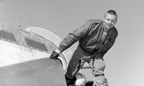 The real first man: Neil Armstrong emerges from the Ames Bell X-14 aircraft at NASA's Ames Research Center. Armstrong was the first man to walk on the moon.