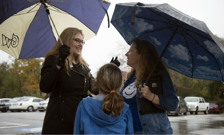 Virginia Democratic congressional candidate Jennifer Wexton greets voters at the Clarke County School Offices in Berryville, Va., on Tuesday. Wexton beat incumbent Republican Rep. Barbara Comstock.