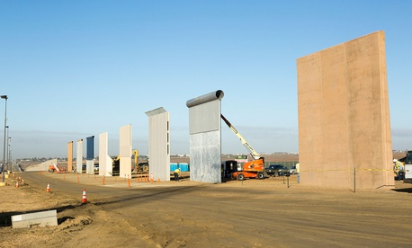 Ground views of different Border Wall Prototypes as they take shape during the Wall Prototype Construction Project near the Otay Mesa Port of Entry are shown in 2017.