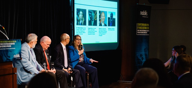 Dr. Natasha Bajema (far right), Senior Research Fellow, Center for the Study of Weapons of Mass Destruction, National Defense University, discusses the cost of losing the digital race at Noblis' CWMD event on September 13, 2018.