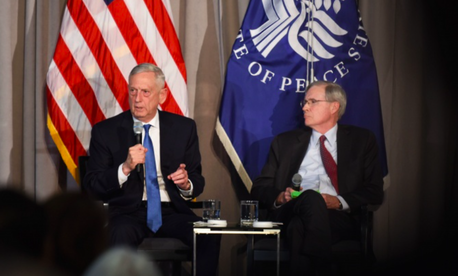 U.S. Secretary of Defense James N. Mattis speaks at the United States Institute of Peace, in a discussion moderated by the chair of the institute's board of directors, Stephen J. Hadley, Washington, D.C., Oct. 30, 2018.