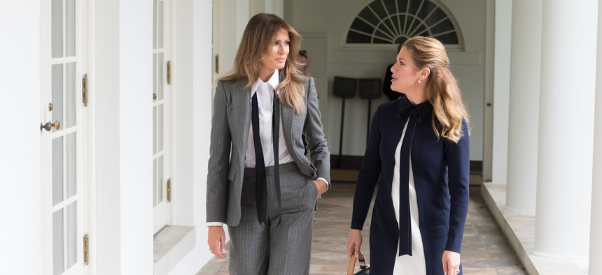 First Lady Melania Trump and Mrs. Sophie Grégoire Trudeau of Canada walk at the White House in 2017.