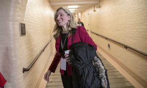 Abigail Spanberger heads to a Democratic Caucus meeting in the basement of the Capitol on Nov. 15.