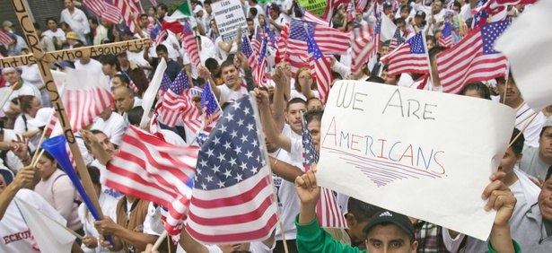 Immigrants rally in California in 2006.