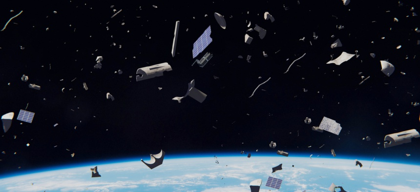 Space debris in Earth orbit creates a dangerous obstacle course for satellites and astronauts