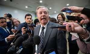 Sen. Lindsey Graham, R-S.C., speaks to reporters at the Capitol after a briefing by CIA Director Gina Haspel on the slaying of Saudi journalist Jamal Khashoggi in Washington on Dec. 4, 2018.