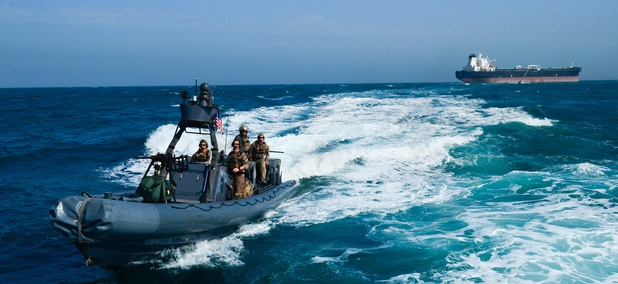 A U.S. Navy special warfare combatant craft crew returns from a simulated mission to recover a hijacked tanker Apr 3, in Kuwait territorial waters as part of exercise Eagle Resolve 2017.