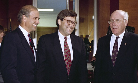 Attorney General nominee William Barr is flanked by Sen. Joseph Biden, D-Del., chairman of the Senate Judiciary Committee, left, and Sen. Patrick Leahy, D-Vt., prior to Barr's nomination hearing before the committee on Capitol Hill in Washington 1991.