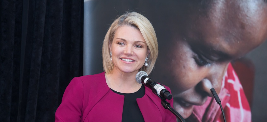 Heather Nauert delivers remarks at the Save the Children event in March in Washington.