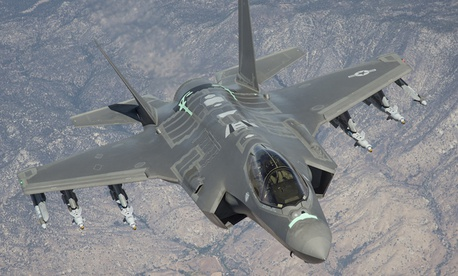An F-35 Lightning II from the 461st Flight Test Squadron at Edwards Air Force Base, California, soars over the Mojave Desert on a test sortie.