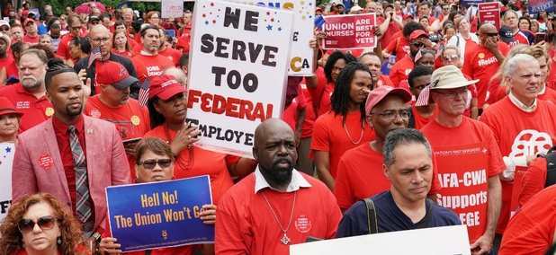 Federal employee unions rally to protest the Trump administration's anti-union executive orders in July.