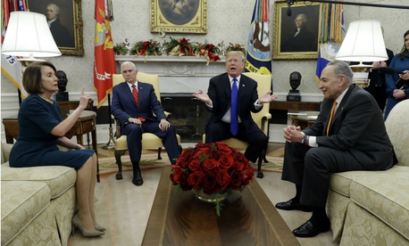 From left, House Minority Leader Nancy Pelosi, Vice President Pence, President Trump and Senate Minority Leader Chuck Schumer meet to discuss funding the government for the rest of the year.