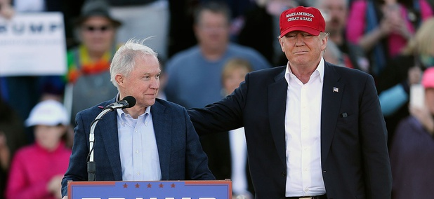 Sen. Jeff Sessions and Donald Trump appear together on the presidential campaign trail in Alabama in February 2016.