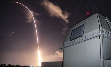 An SM-3 missile interceptor launches in Hawaii.