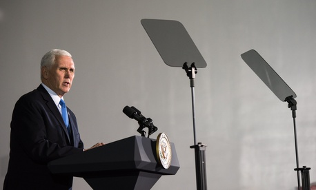 Vice President Mike Pence speaks at Kennedy Space Center on Feb. 21, 2018.
