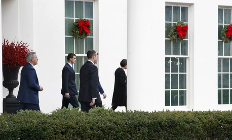 House Republican leaders leave their meeting with Trump Thursday.