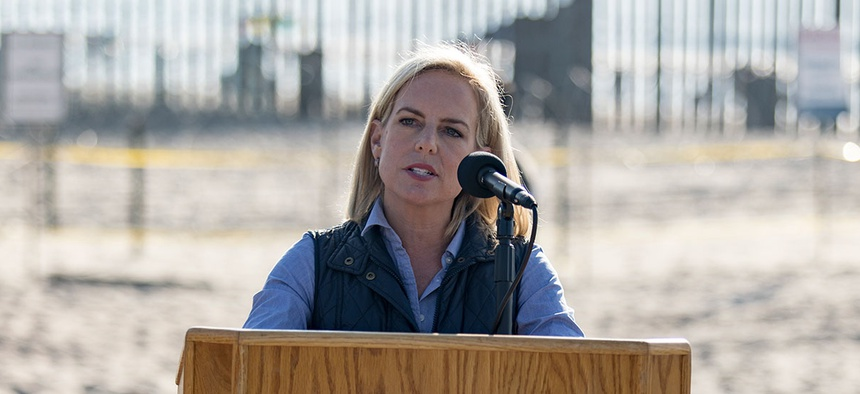 Nielsen holds a press conference at Border Field State Park in California in November.