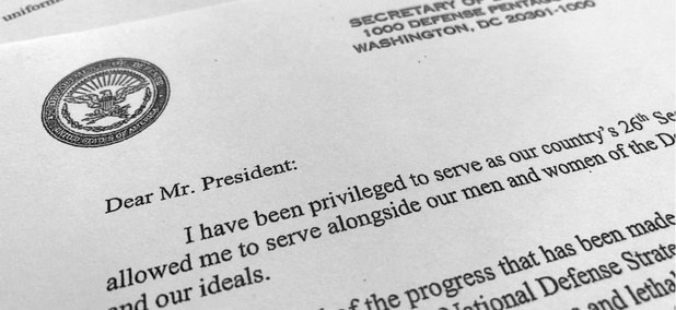 Defense Secretary James Mattis' resignation letter.