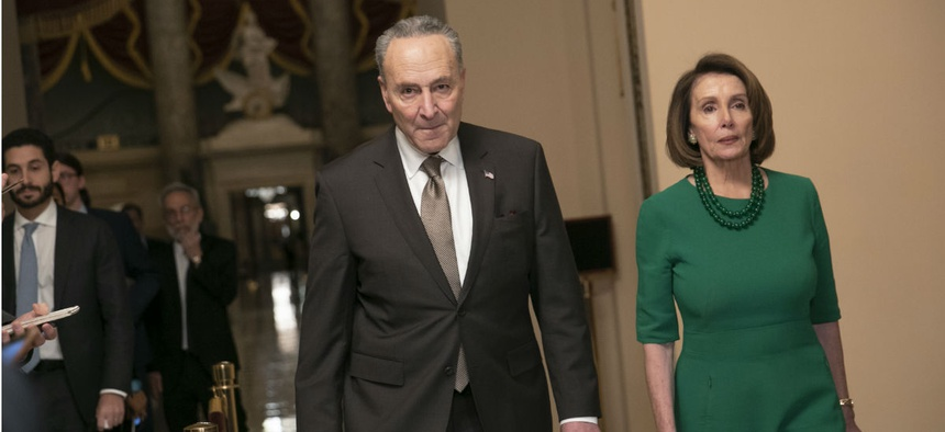 Senate Minority Leader Chuck Schumer, D-N.Y., (left) and House Speaker-designate Nancy Pelosi, D-Calif., said they have received mixed messages from different members of the Trump administration about the White House's demands.