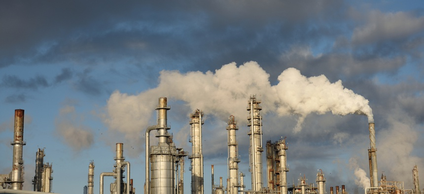 Oil refiners are fined for exceeding air pollution limits when rules are enforced.