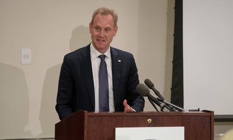 Patrick M. Shanahan speaks to members of the Military Reporters and Editors Association during their annual convention at the Navy League Building in Arlington, Va. in October.