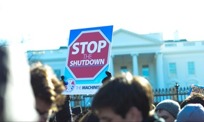 Federal employees and their allies rallied outside the White House on Jan. 10.