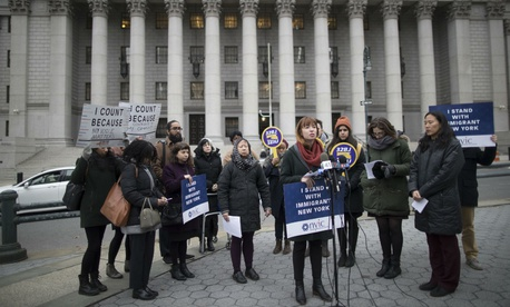 Betsy Plum, vice president of Policy at the New York Immigration Coalition, speaks during a news conference outside the Thurgood Marshall United States Courthouse in November.