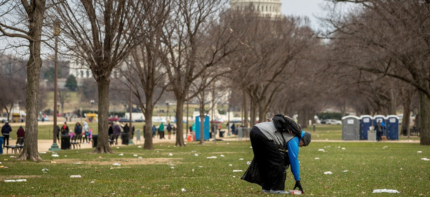 One of the more visible impacts of the shutdown is garbage piling up in parks.