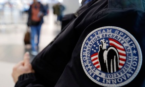 A TSA worker is shown at Chicago's O'Hare International Airport in December.