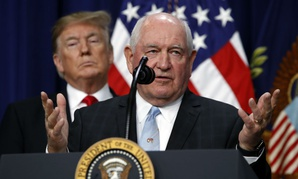 President Trump listens to Agriculture Secretary Sonny Perdue during a signing ceremony for the 2018 farm bill in December.