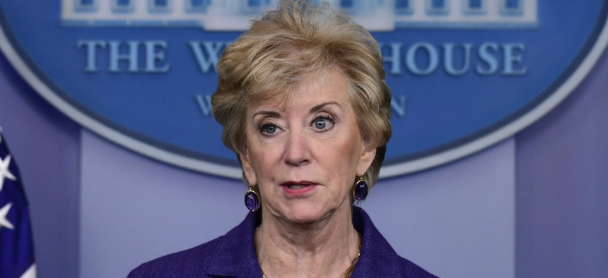 Small Business Administration chief Linda McMahon has been asked to outline the steps she is taking to minimize damage from the shutdown.
