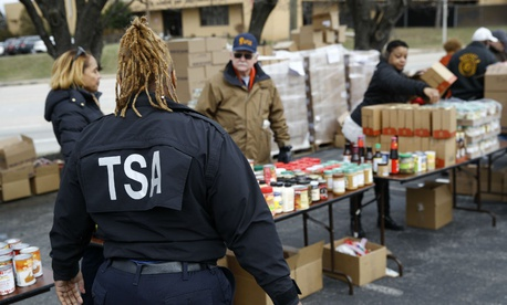 TSA employee Princess Young visits a food pantry for furloughed government workers affected by the federal shutdown on Jan. 23 in Baltimore.