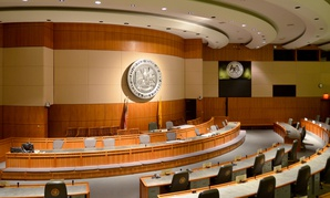 The New Mexico State Senate chambers in Santa Fe.