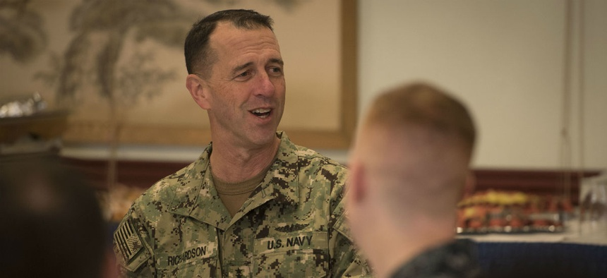 Chief of Naval Operations Adm. John Richardson meets with sailors earlier this month.
