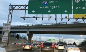 Federal employees returned to work early Monday morning on I-395 in Virginia.