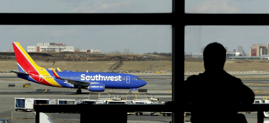 A Southwest jet at LaGuardia airport in New York on Jan. 25. The airport experienced delays related to the shutdown.