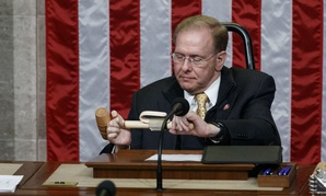 Rep. Jim Langevin prepares the dais after he was chosen as Speaker pro tempore for the opening day of the 116th Congress Jan. 3.
