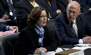 CIA Director Gina Haspel accompanied by FBI Director Christopher Wray and Director of National Intelligence Dan Coats testifies before the Senate Intelligence Committee in Washington Jan. 29.