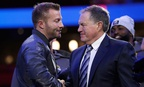 Los Angeles Rams head coach Sean McVay, left, shakes hands with New England Patriots head coach Bill Belichick in Atlanta on Monday.