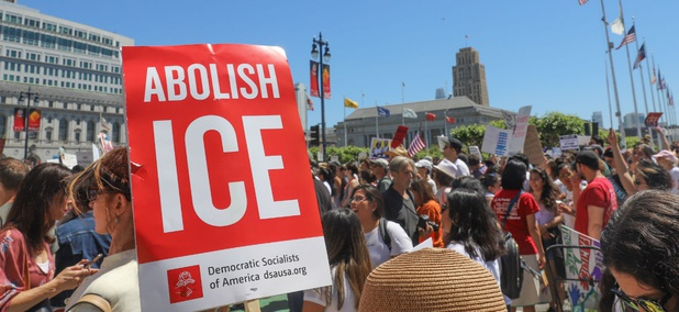 Protesters in San Francisco march to City Hall to protest the Trump administration's family separation and detention policies in June 2018.