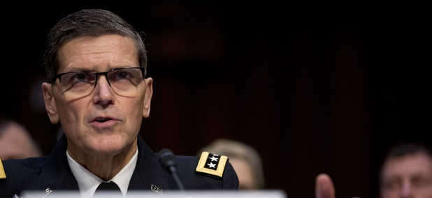 U.S. Central Command Commander Gen. Joseph Votel speaks at a Senate Armed Services Committee hearing on Capitol Hill on Tuesday.