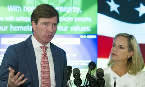 CISA Director Christopher Krebs and DHS Secretary Kirstjen Nielsen speak with reporters in the National Cybersecurity and Communications Integration Center Aug. 22.