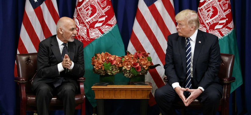 President Donald Trump meets with Afghan President Ashraf Ghani at the Palace Hotel during the United Nations General Assembly in 2017.