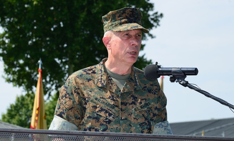 Marine Corps, Gen. Thomas D. Waldhauser, commander of the U.S. Africa Command, delivers remarks in Italy in August.