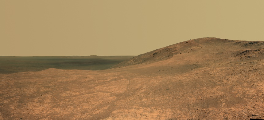 A panorama shot by the rover in 2016 is shown.