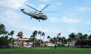 Marine One, carrying President Donald J. Trump, lifts-off from Mar-a-Lago on Monday.