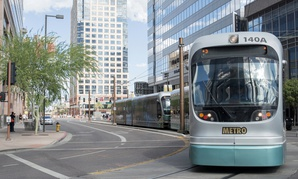 Phoenix Metro Light Rail train goes through downtown.
