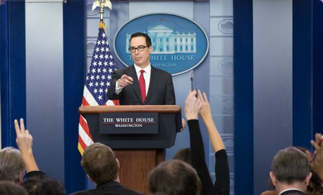 Treasury Secretary Steve Mnuchin took questions from reporters at the White House in January.
