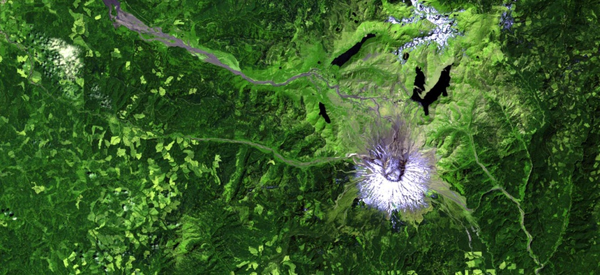 A Landsat view of Mount St. Helens in 2011.